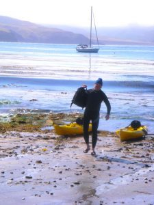 Dave Gallup, the Great American Painter, kayaking ashore with paint, easel etc.