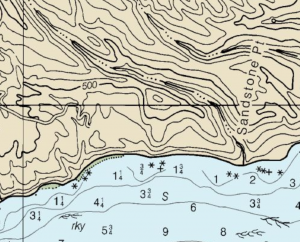 Shaw anchorage does not appear on the NOAA chart.