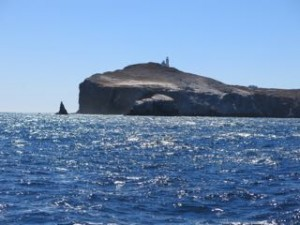 Eastern end of Anacapa Island. Landing Cove just to the right, Fagan's Lunch left of the spire