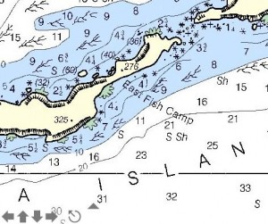 We generally anchor in about 30' between the drying areas (green).