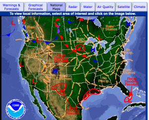 Click for graphics of fronts, satellite, radar etc.